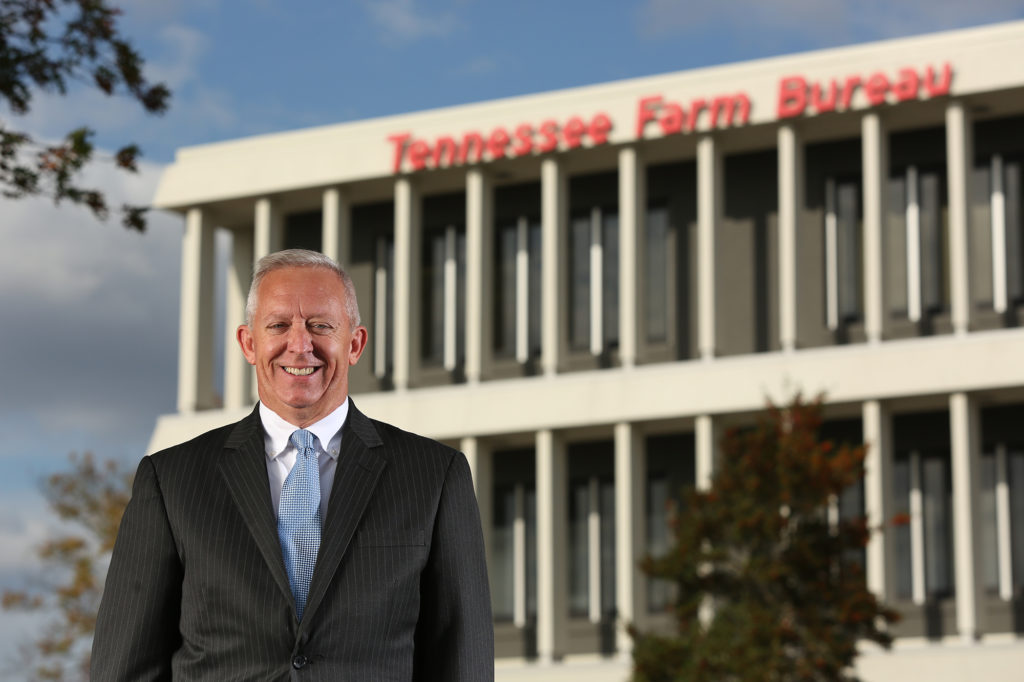 President Jeff Aiken in front of TN Farm Bureau building